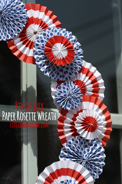 1. Patriotic Paper Rosette Wreath at Little Red Window