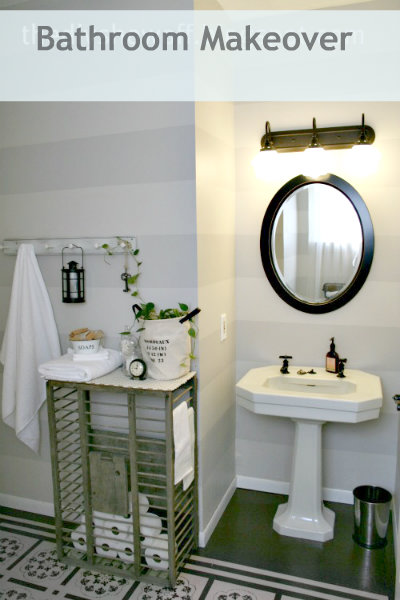 DIY bathroom makeover, painted floor
