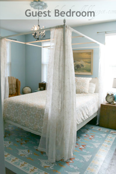 guest bedroom makeover, painted floor