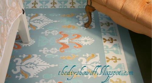 DIY, painted floor, stenciled floor