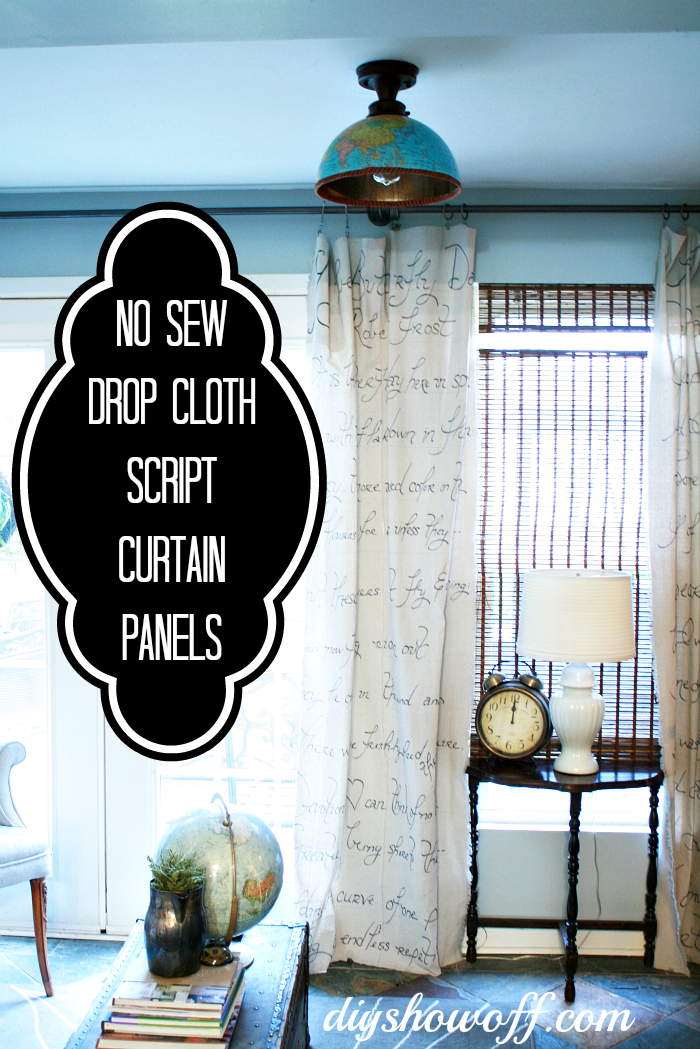 No Sew Script Drop Cloth CurtainsDIY Show Off DIY