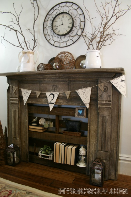 DIY Show Off Pallet Shelving And Faux FireplaceDIY