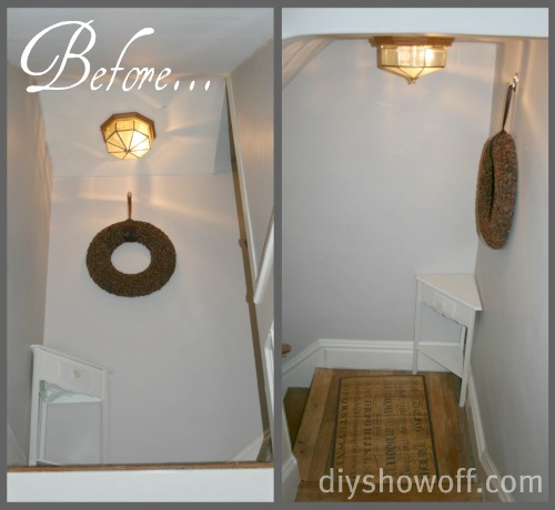 Diy Show Off Budget Friendly Stairwell Landing Makeoverdiy Show