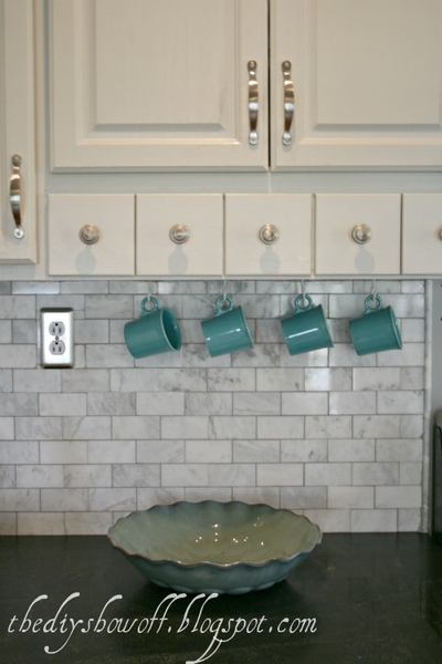 marble subway tile, back splash, do it yourself, virginia mist granite, hanging mugs