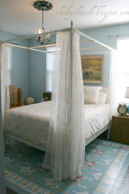 poster bed with curtains, turquoise and orange, do it yourself, bedroom makeover