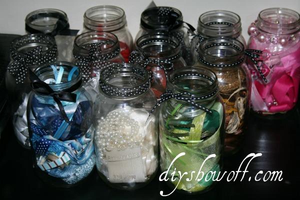 ribbon, mason jars