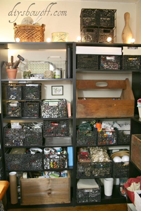 vintage craft room, organization