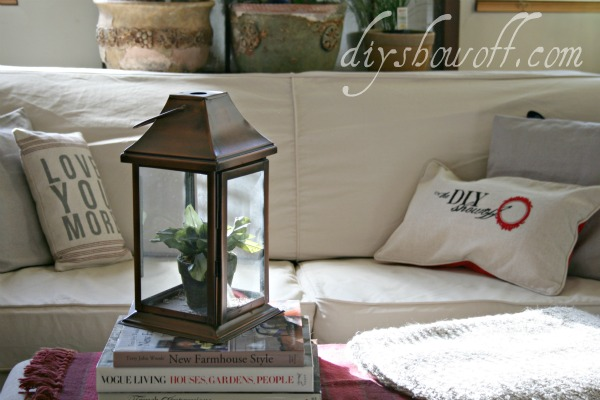 beach cottage living room, slip cover, terrarium lantern