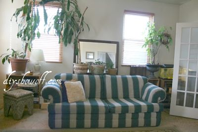 hunter green striped sofa