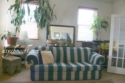 hunter green striped sofa