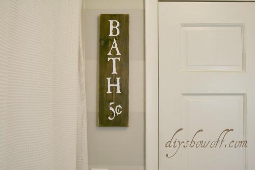 DIY bath sign