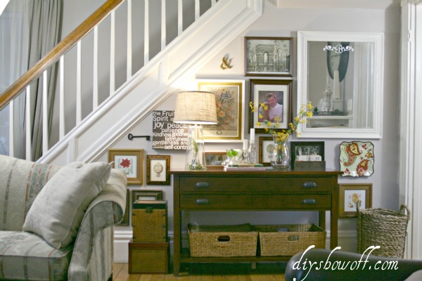 living room, gallery wall, DIY, console table, thrift store wall art