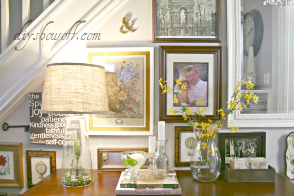 gallery wall, console table, living room, do-it-yourself, plaster walls, BM Smoke
