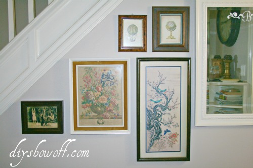 gallery wall, photo wall, thrift store collection