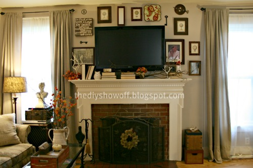 tv mounted above the fireplace, gallery wall