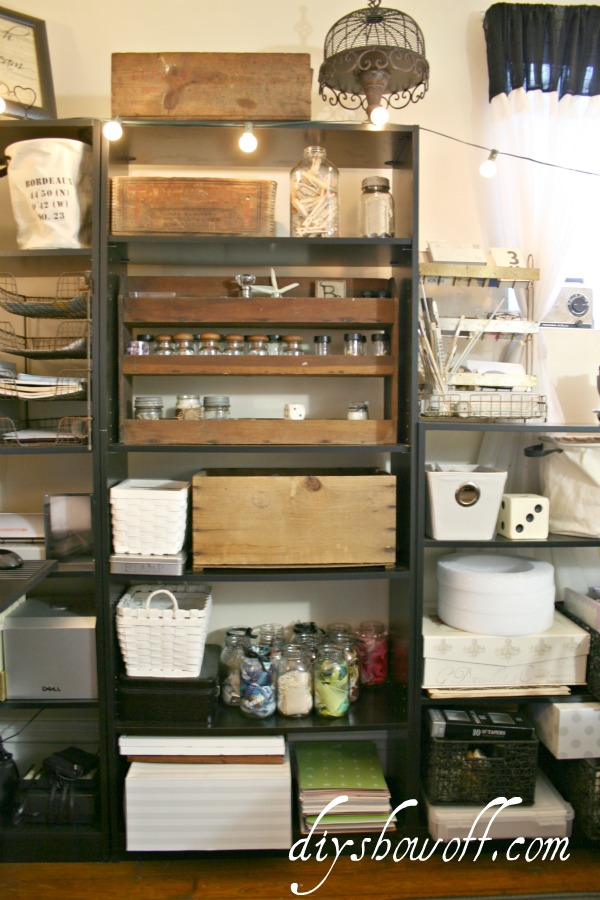 craft room, organization, vintage, craft supplies, home office