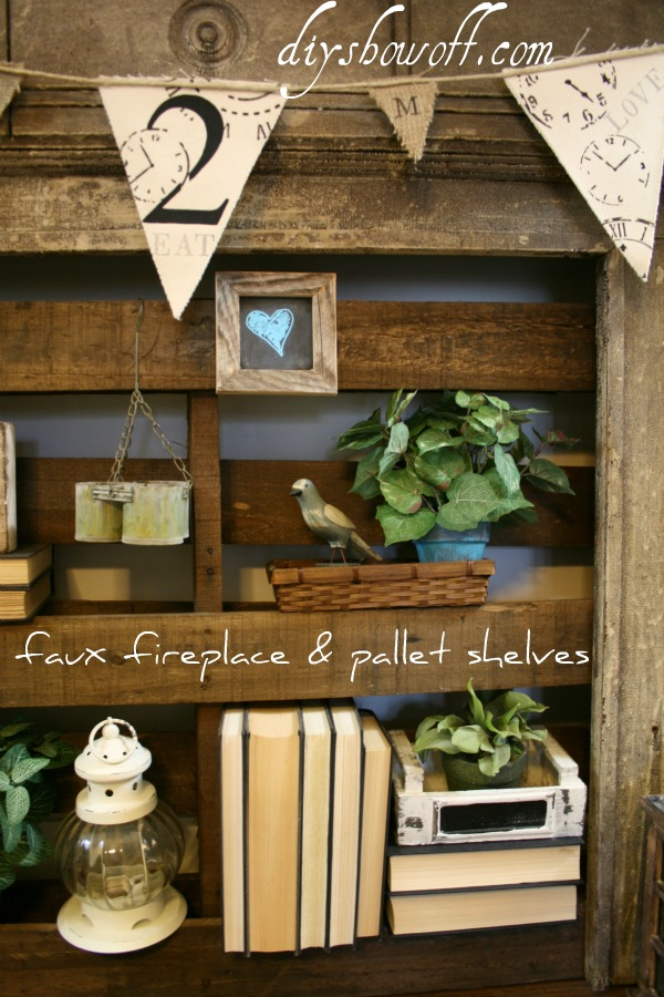 faux fireplace, pallet shelves