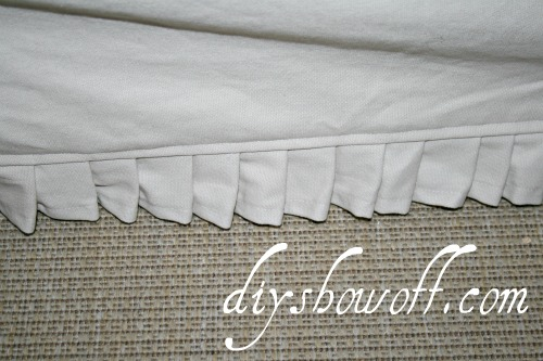 Comfort Works slip cover detailing, ruffle
