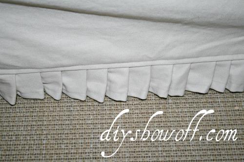 Comfort Works slip cover detailing, ruffle
