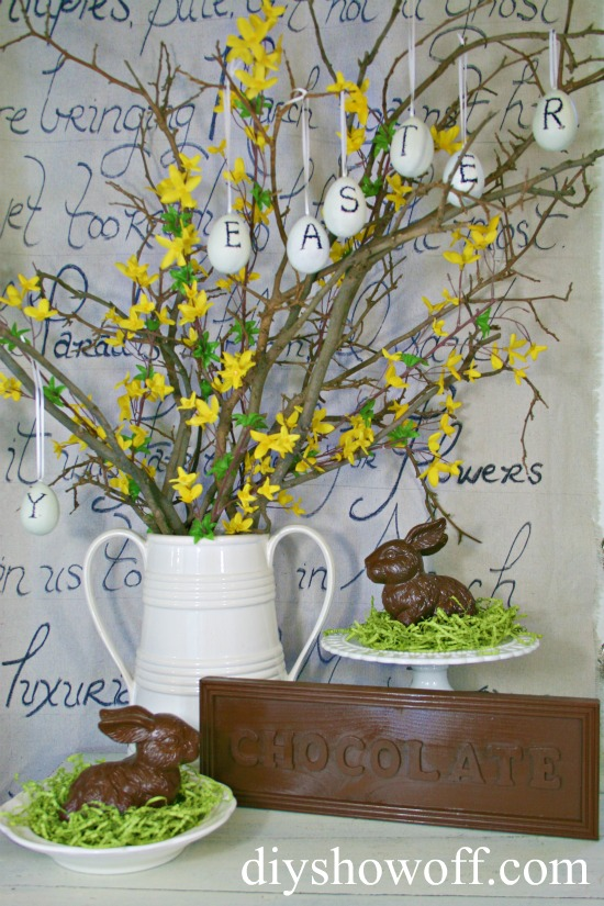 Easter, decor, do it yourself, faux chocolate bar sign, wood sign, centerpiece