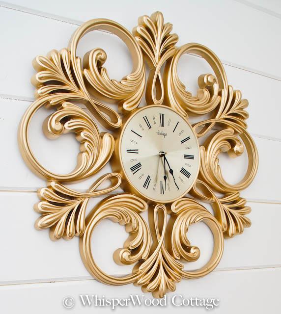 vintage gold clock, WhisperWood Cottage, valspar spray paint