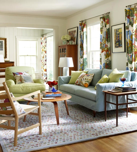 Budget Living Room Design Inspiration: Turquoise/Green Color Inspiration For Family Room
