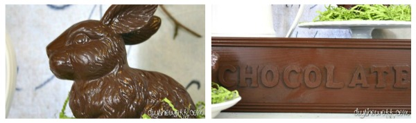 faux chocolate bunnies and chocolate bar sign, DIY, Easter decor
