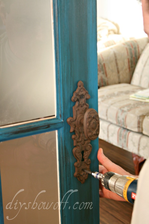 teal French door