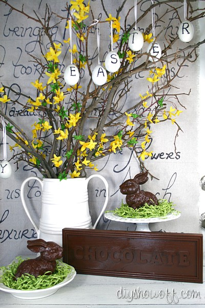 pottery barn easter inspired vignette