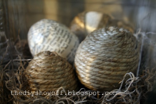 twine and decoupaged easter eggs