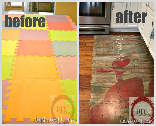 before and after painted puzzle floormat