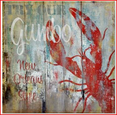 distressed beach poster, New Orleans gumbo sign