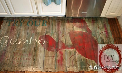 painted foam playmat, rustic vintage restaurant sign, do it yourself, tutorial painted rug