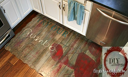 DIY, tutorial, painted floor mat