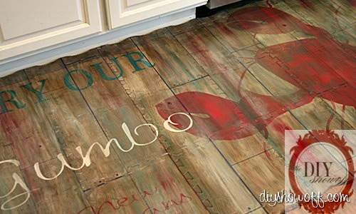 kitchen mat, rubber mat, playmat, painted foam mat, rustic restaurant sign