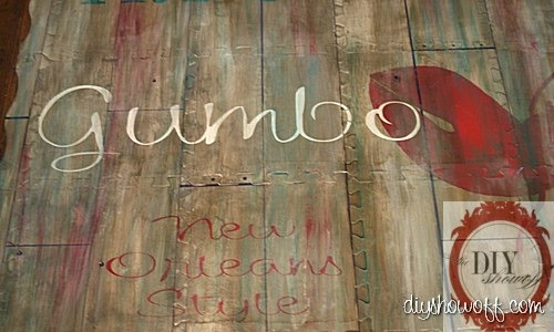 Painted play mat diy show off diy decorating and home do it yourself tutorial kitchen painted playmat vintage restaurant sign solutioingenieria Choice Image