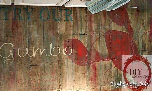 do it yourself, painted kitchen mat, kitchen area rug, vintage restaurant sign