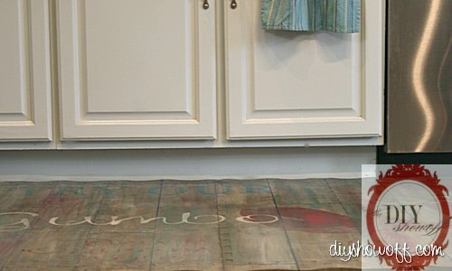 do it yourself painted playmat, rustic vintage restaurant sign, DIY, tutorial