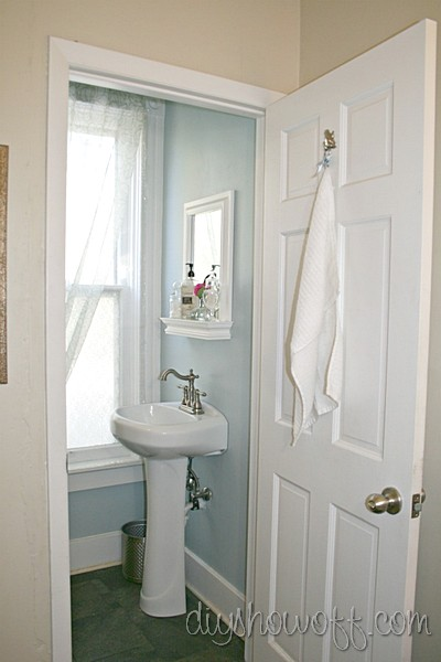 Nice powder room before and after