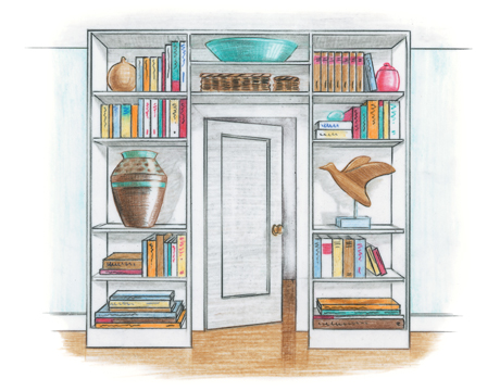bookcases built in around a door
