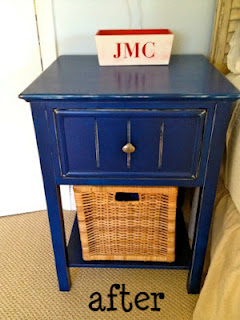 painted blue nightstand