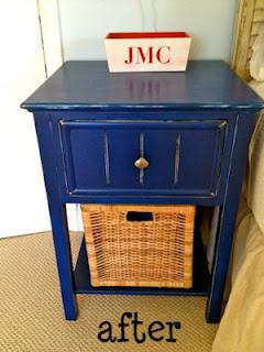 painted blue nightstand