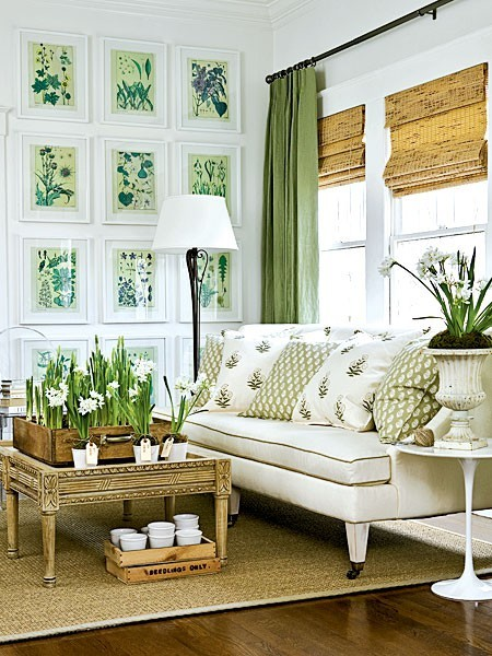 blue and green white, neutrals living room
