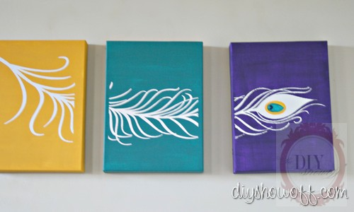 Diy project parade peacock feather triptych canvases diy show vertical solutioingenieria Gallery