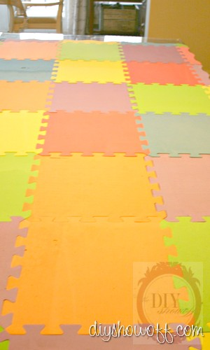 puzzle playmat, painted foam mat tutorial