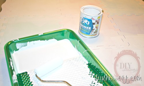 painted playmat tutorial, Zinsser primer, do it yourself kitchen mat
