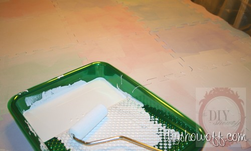 do it yourself, painted playmat tutorial, kitchen mat