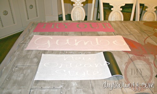 do it yourself, tutorial, painted kitchen foam mat, rustic restaurant sign