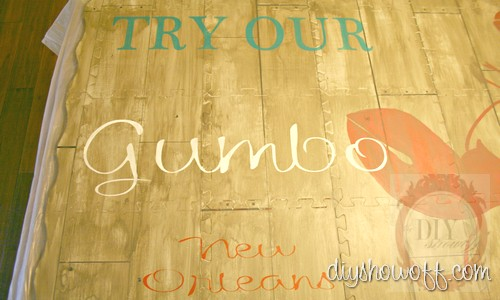 do it yourself, tutorial, painted foam playmat, DIY floor mat, stencil, aged, distressed