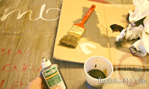do it yourself, vintage restaurant sign, painted foam playmat, Rockler TransTint dye